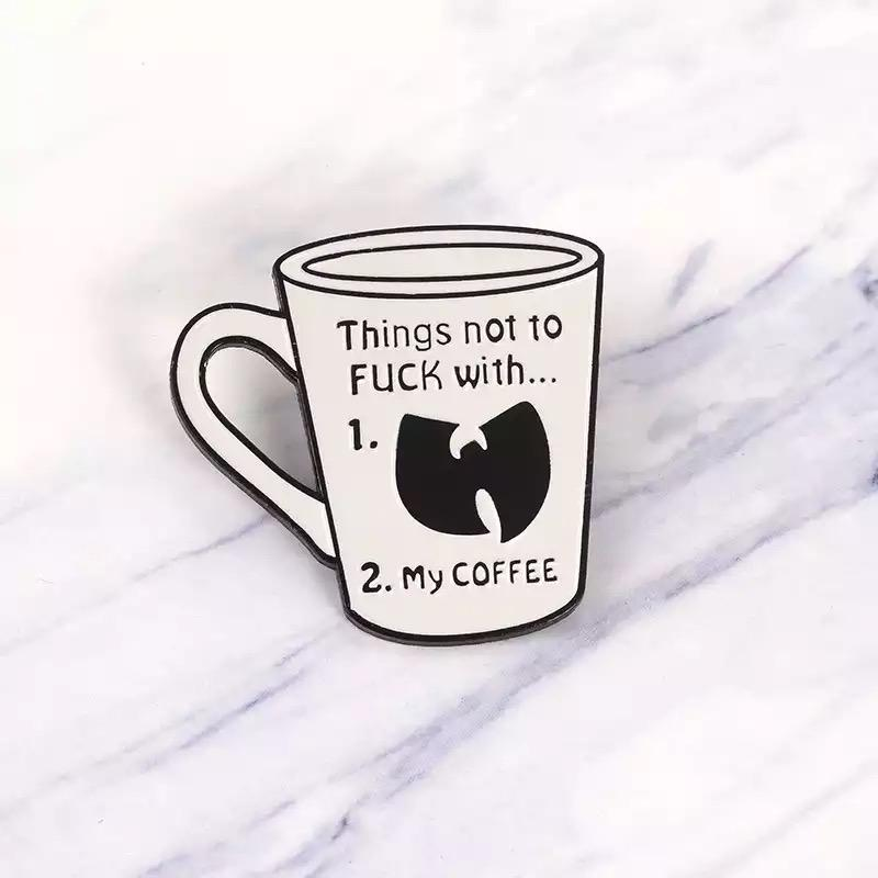 Pin badge black and white coffee funny wutang wu tang rew clothing