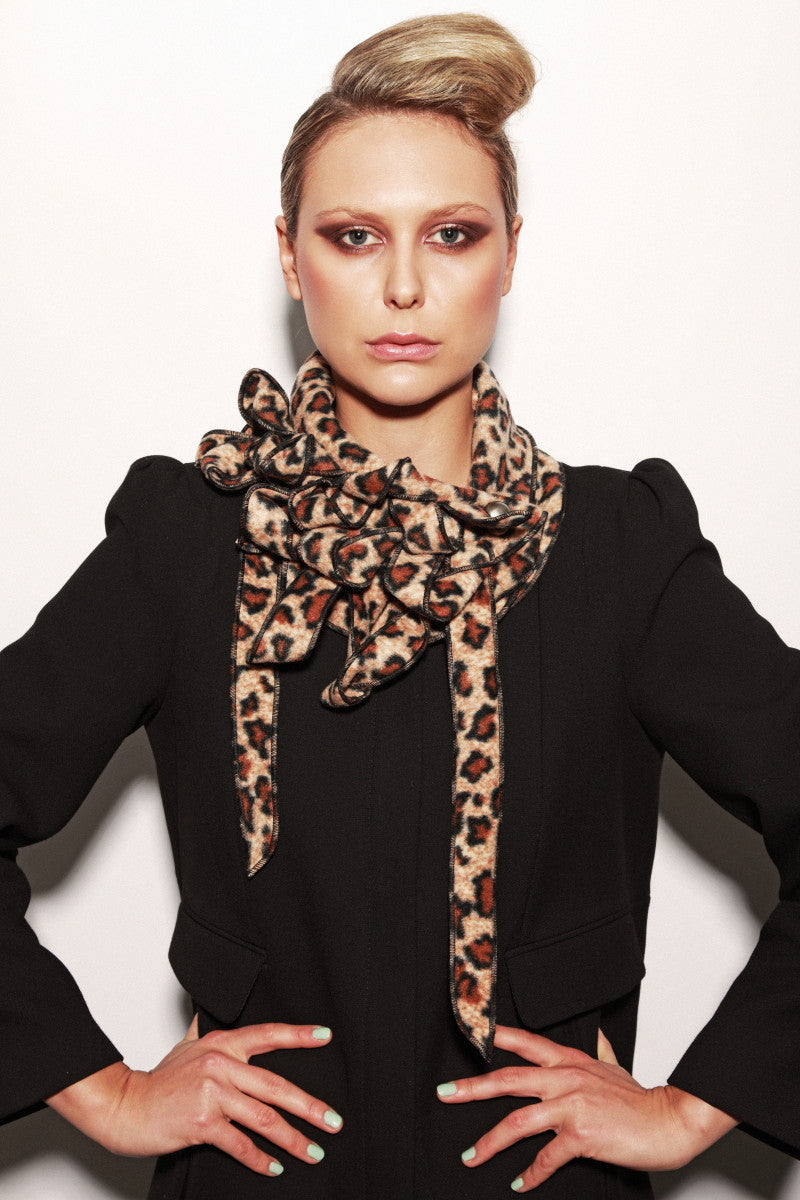 rew scarves leopard print brown