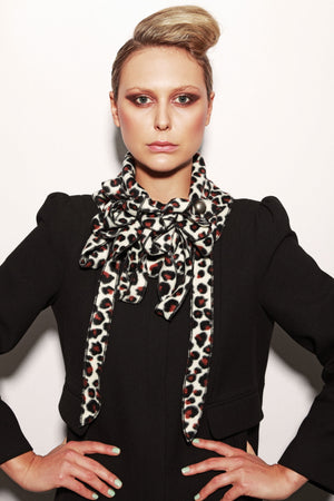 Cream Leopard Printed Scarf by Rew