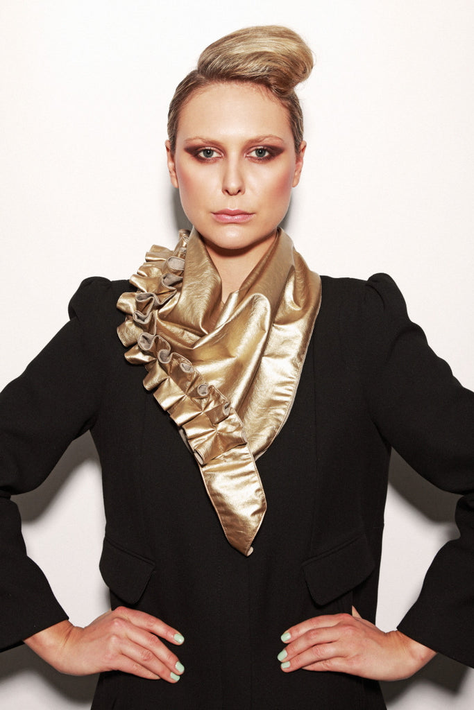 Unique gold lined scarf with ruffle