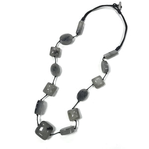 Long Grey Smokey Beaded Necklace