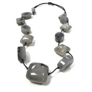 Chelcie - Long Smokey Grey Beaded Necklace