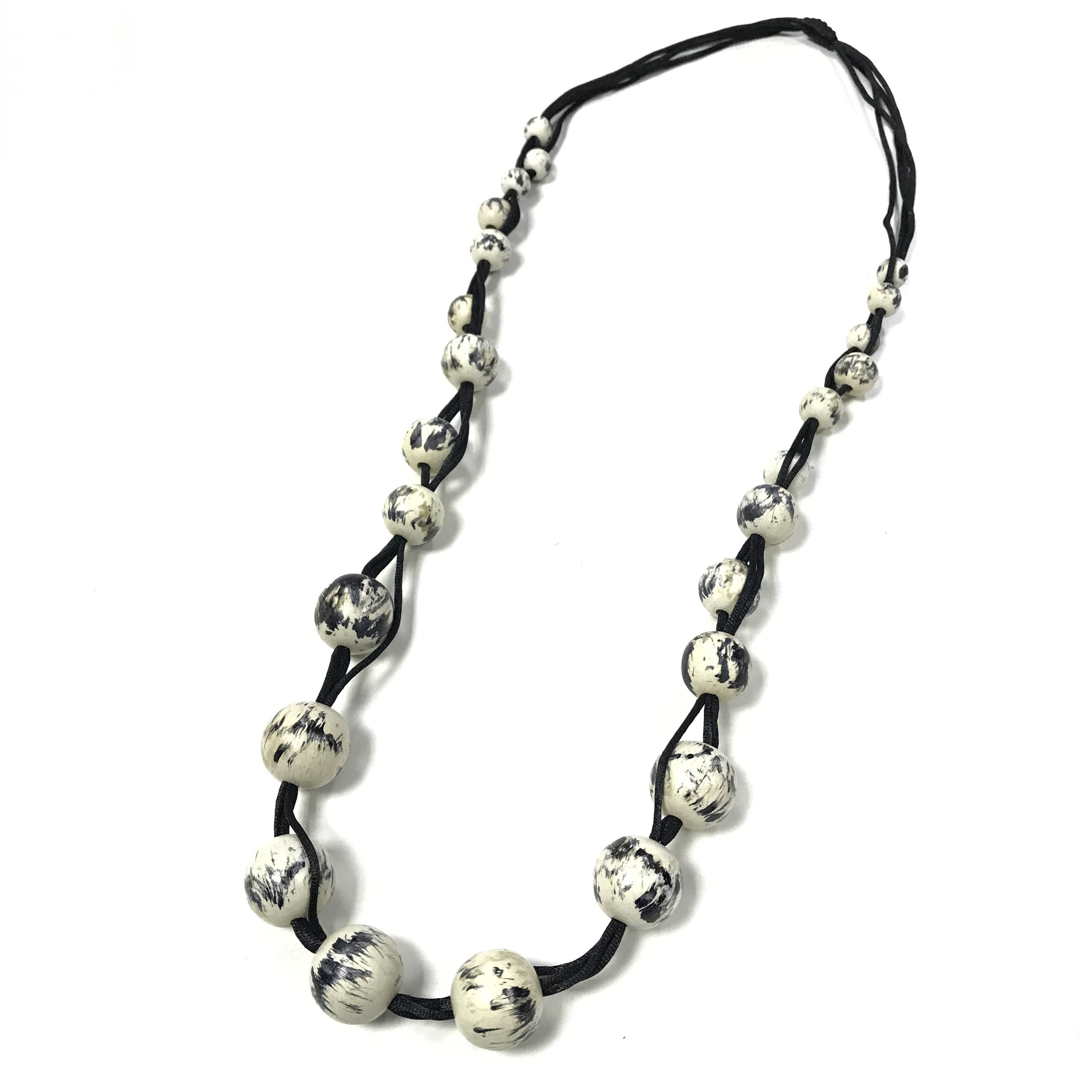 Polly - Long Monochrome Beaded Necklace