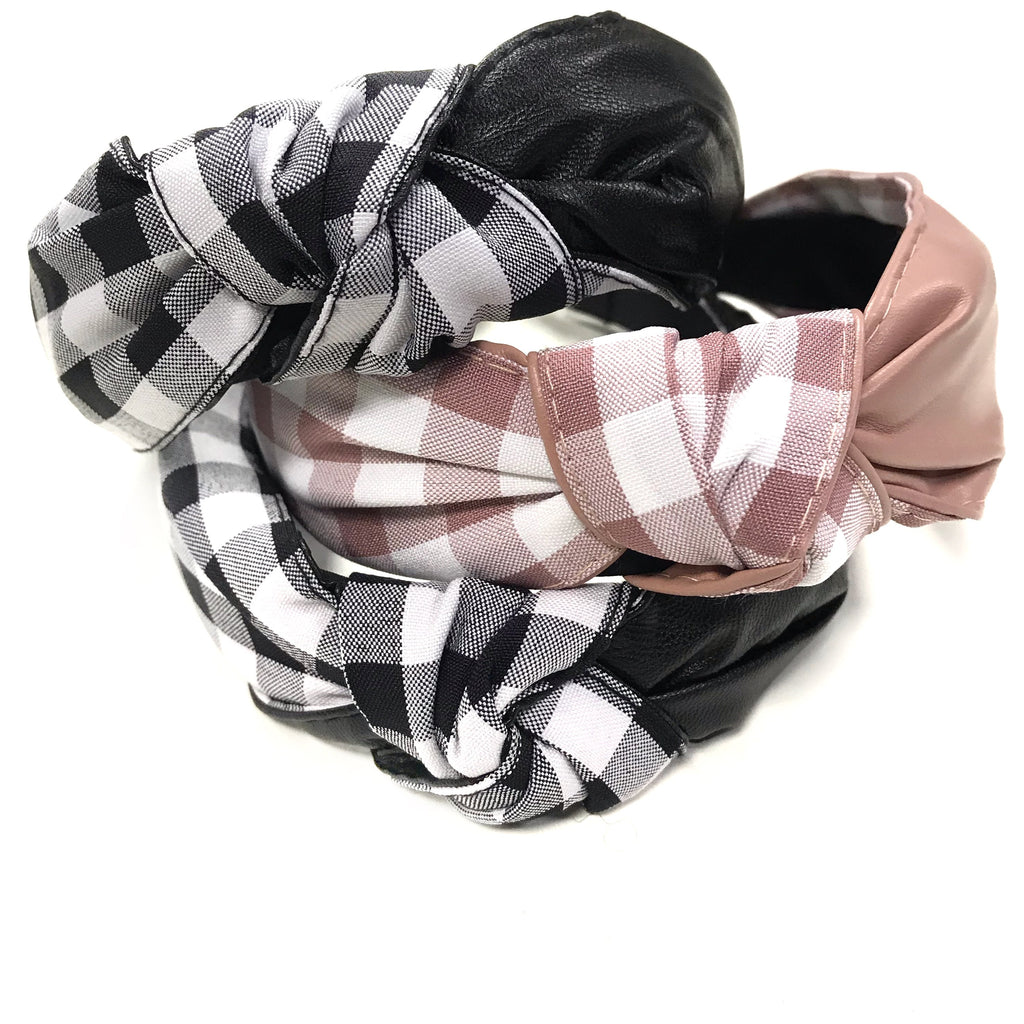 stylish knot checked hairband