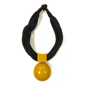 mustard and black chunky necklace