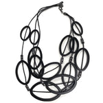 matt matte black resin beaded unusual layer necklace disks loops circles REW Clothing