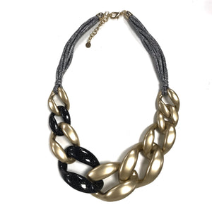 gold chunky bold lightweight statement necklace gunmetal rope metallic