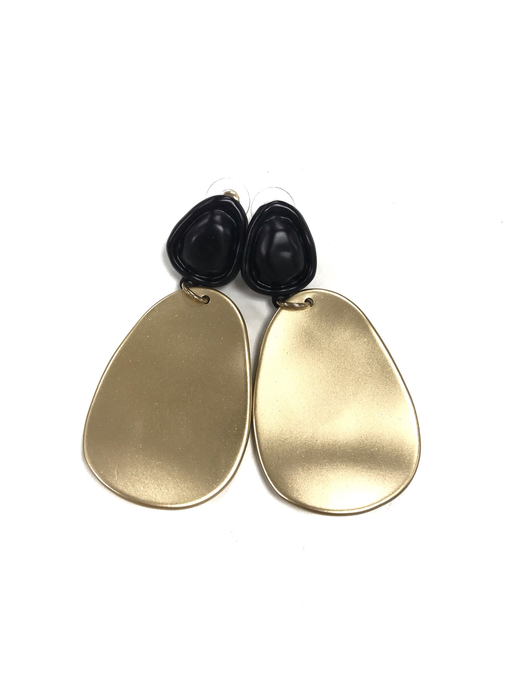 REW statement gold pebble earrings fashion style