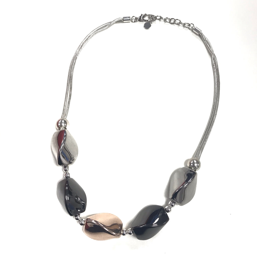 Gunmetal Rose Gold And Silver Chain Statement Necklace REW Clothing