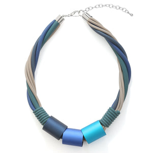 Blue Tone Statement Rubber Necklace