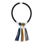 Short Choker Style Rubber Necklace With Tassles In Mustard Blue Black
