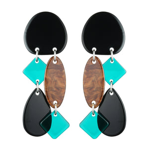 Aqua Tortoise Drop Statement Earrings Unusual Gifts