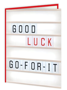 red 'good luck' card