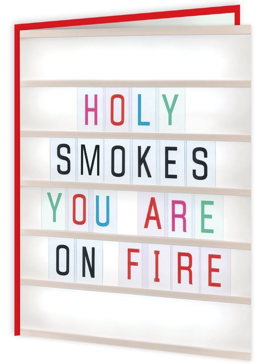 colourful 'you are on fire' card