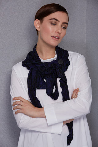 Livie - Blue and Black Print Scarf