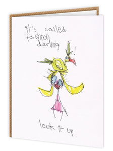 'fashion darling' funny illustrated card