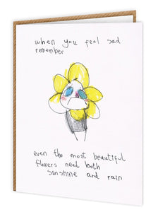 Sad Flower Illustrated Card