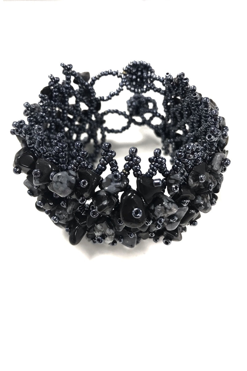 Midnight Beaded Cuff Bracelet