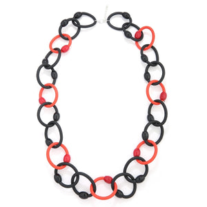 Long Rubber Chain Necklace In Red And Black Unusual Jewellery Rew Clothing