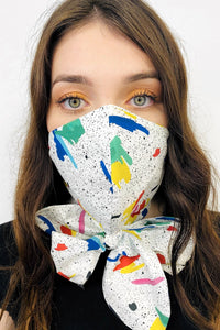 paint splatter print mask scarf made in uk