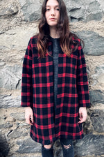 plaid checked swing coat red