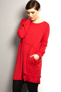 LOOSE FIT DRAPE RED DRESS REW CLOTHING