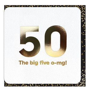 Funny 50th the big five o-mg! birthday card
