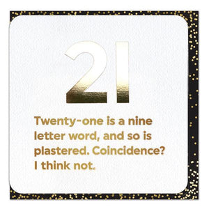 gold foiled funny 21st birthday card