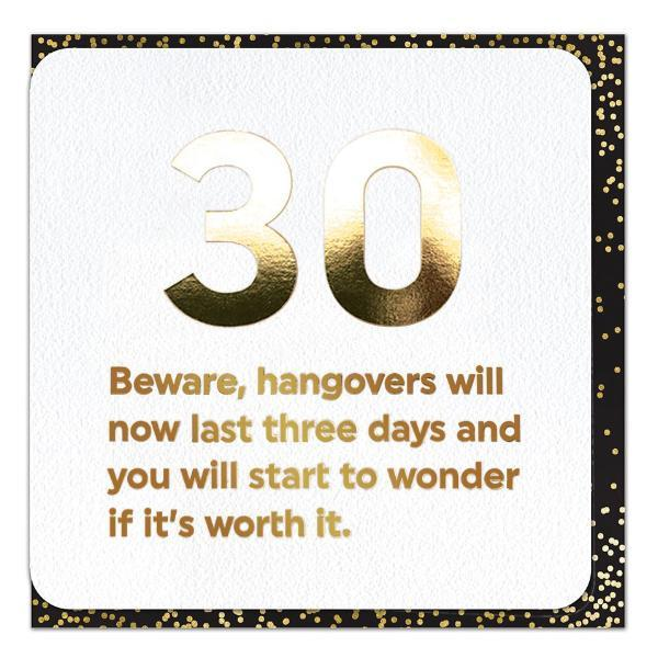 funny 30th birthday card foil printed gold