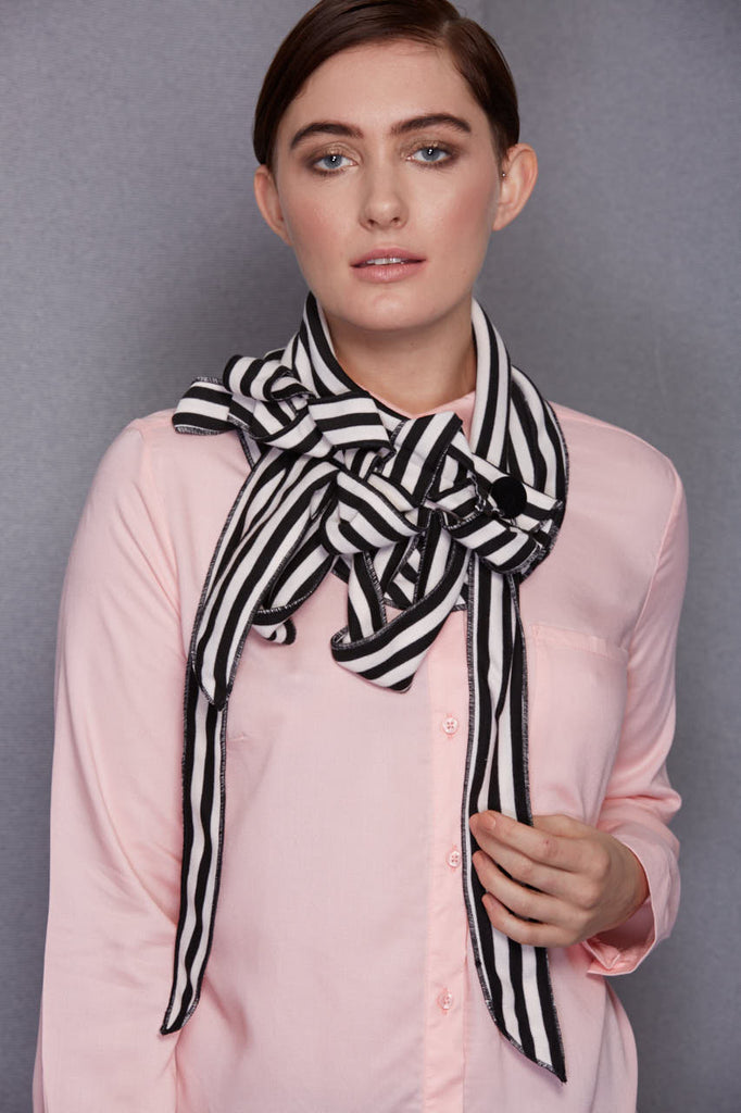 pale blush pink and black striped scarf