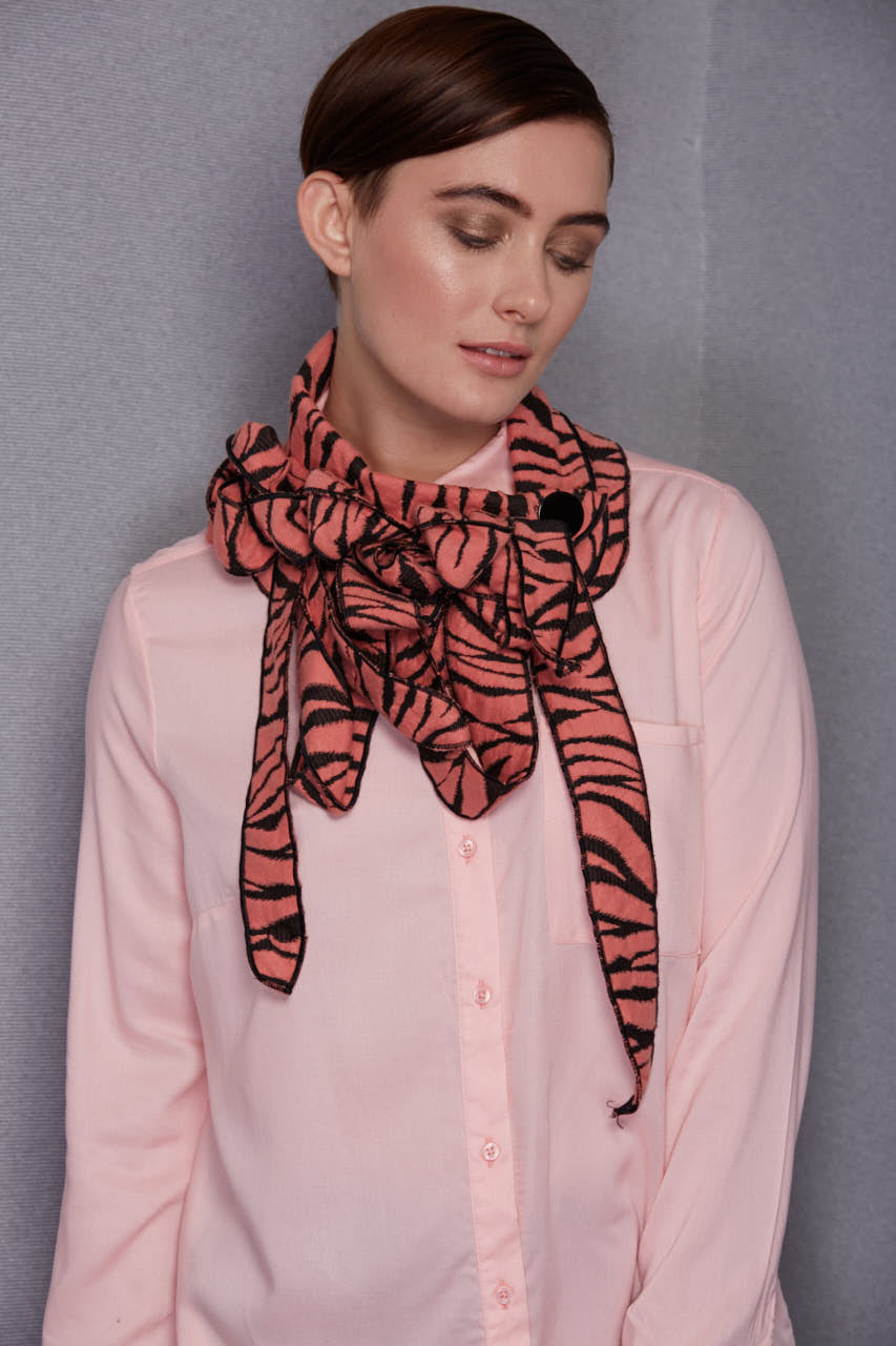tiger striped rew scarf tangerine