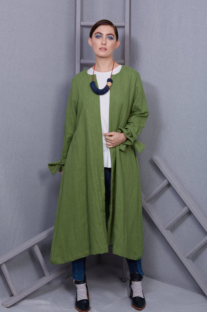 Bright Green Linen Duster Coat