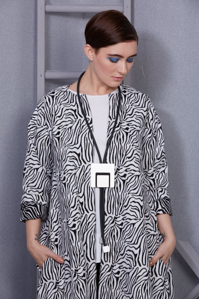 Zebra pattern duster coat
