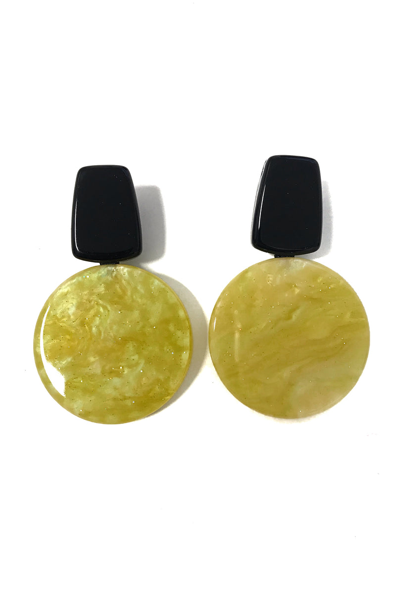 Milan - Statement Yellow & Black Clip On Earrings