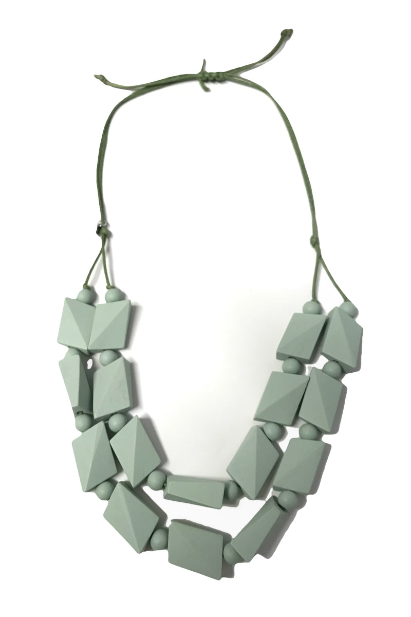 Giselle - Mint Wooden Beaded Necklace