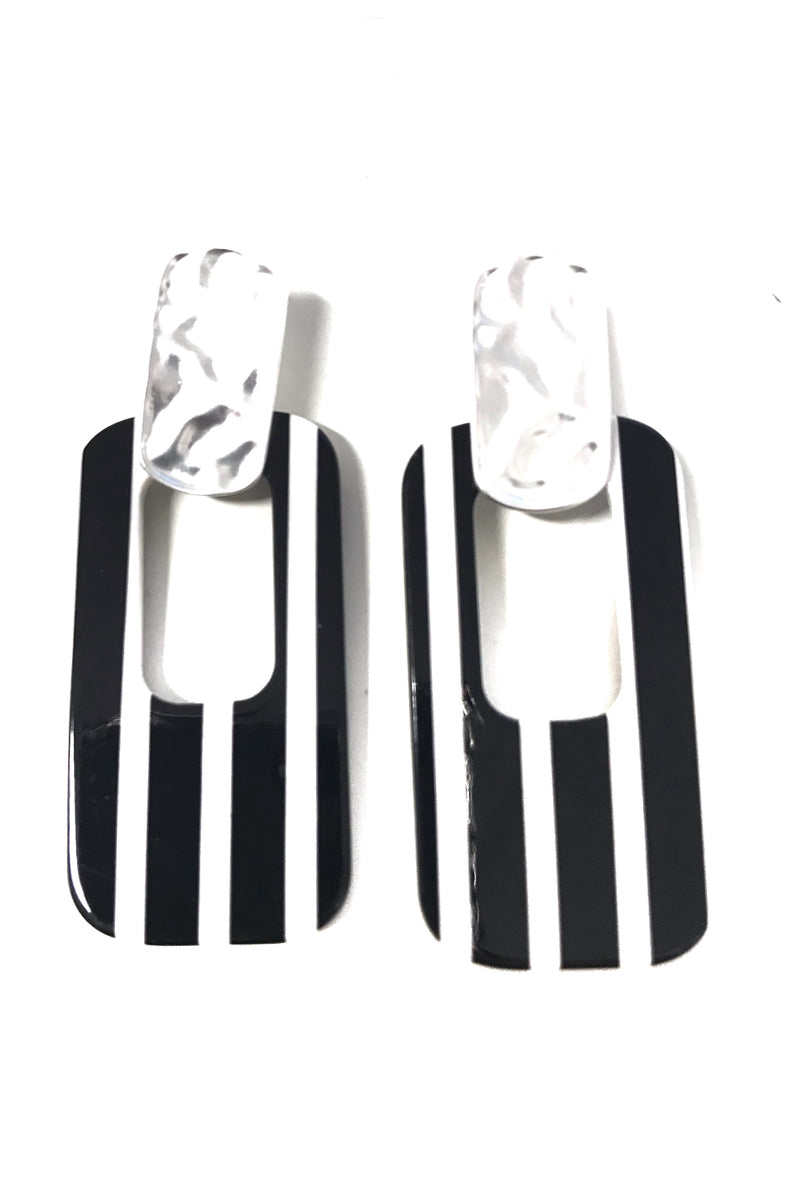 stunning black and white striped earnings