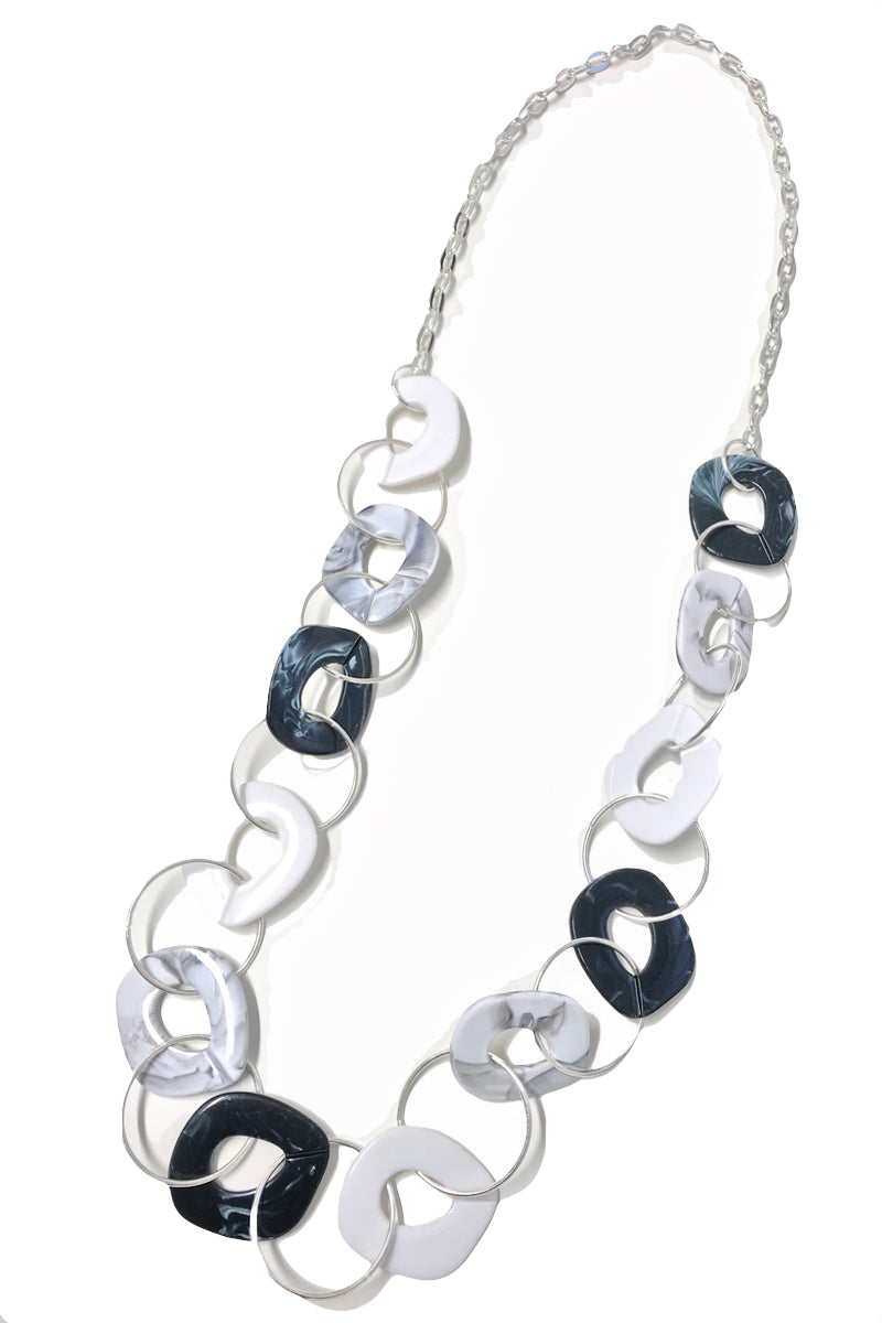 Marianne - Marble Monochrome Long Chain Necklace