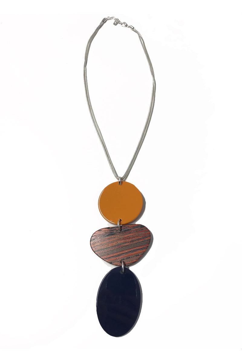 Olivia - Long Navy & Orange Pendant Statement Necklace