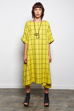GRID DRESS BRIGHT YELLOW
