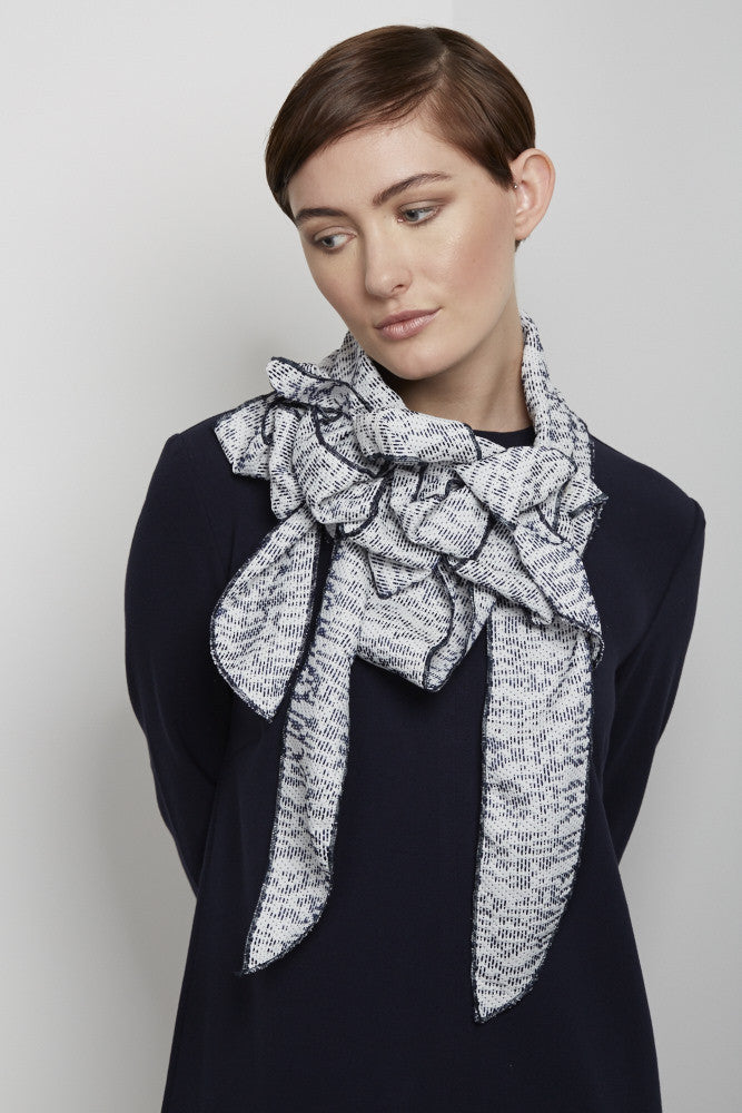 Macey - Navy & White Collar|Scarf