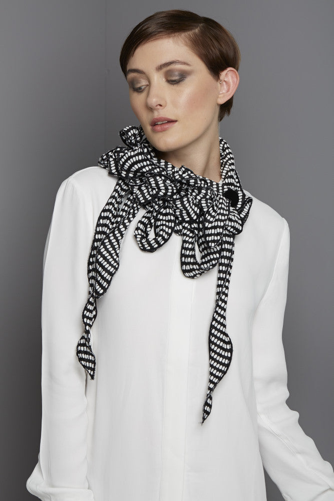 Black and white square dot scarf