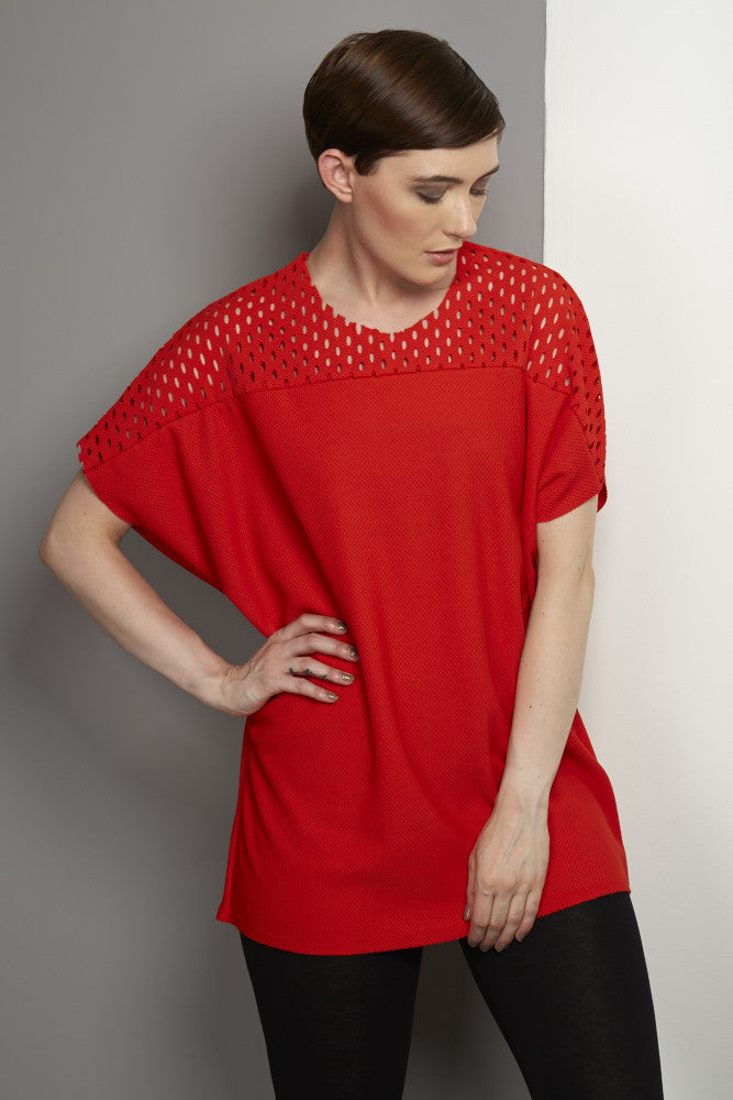 Red T-Shirt with Airtex Trim