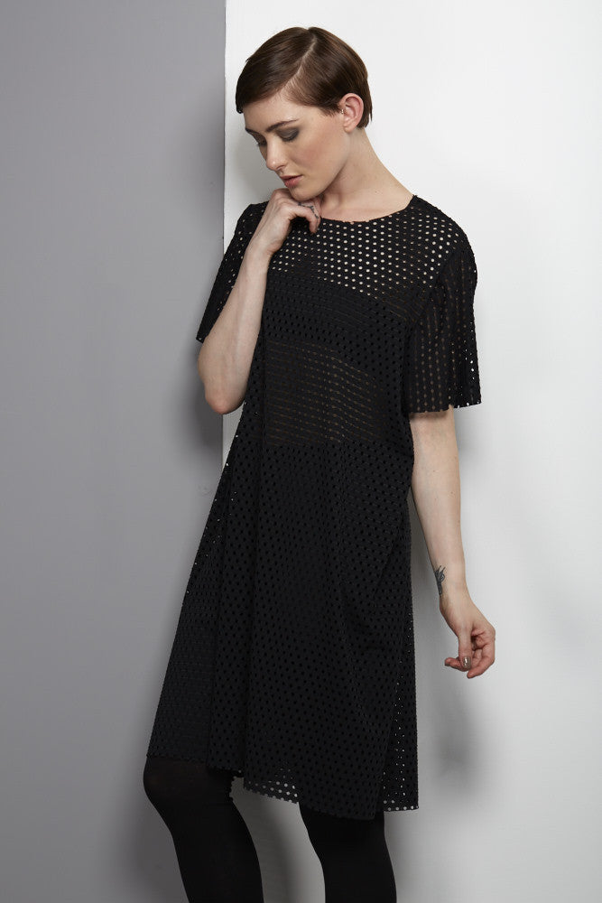 Black airtex dress rew clothing