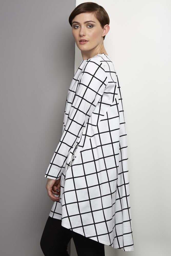 Grid drape dress