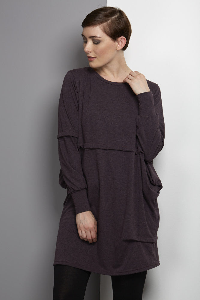 plum jersey dress on trend by rew clothing