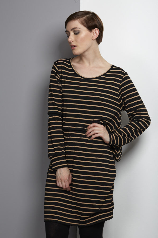 Rach dress - black/brown stripe