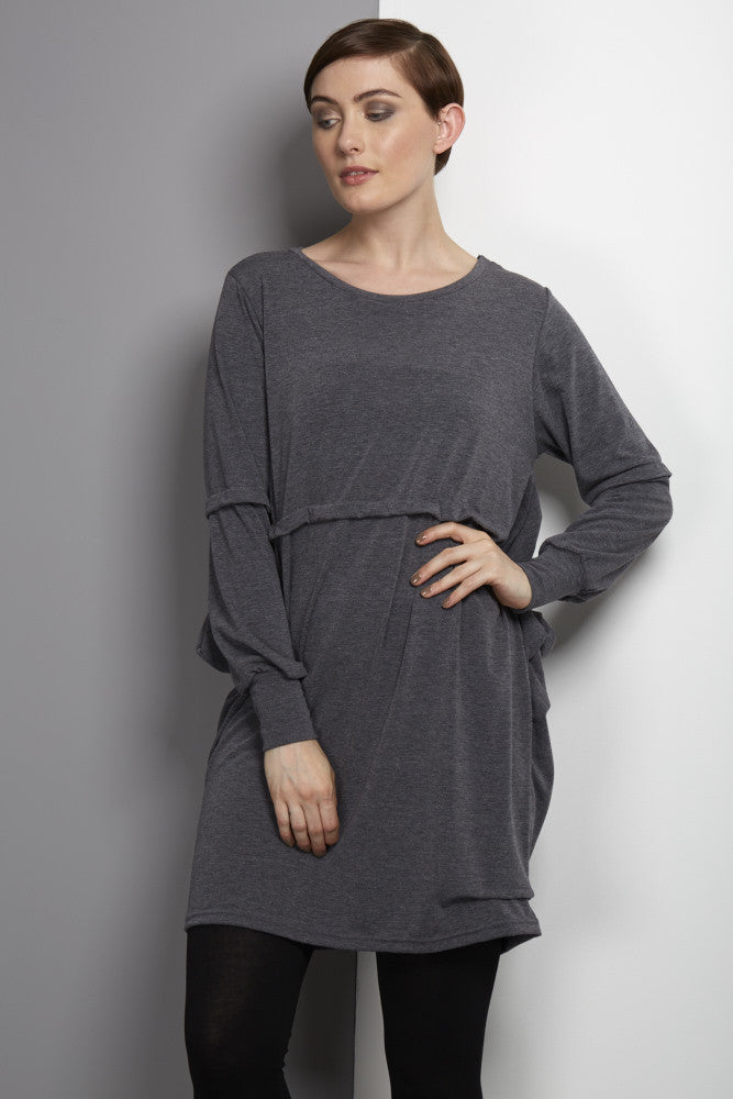 loose fitting unusual jersey grey dress