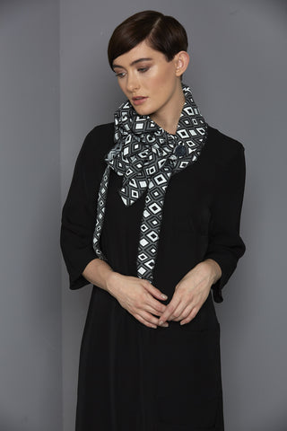 Geo - Geometric Black and Grey Scarf