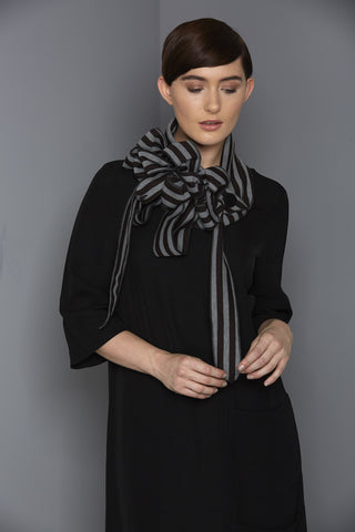 Casta - Grey and Black Stripe Collar Scarf
