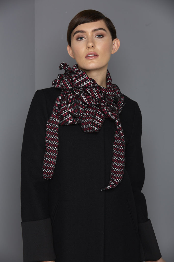 deep pink and black scarf